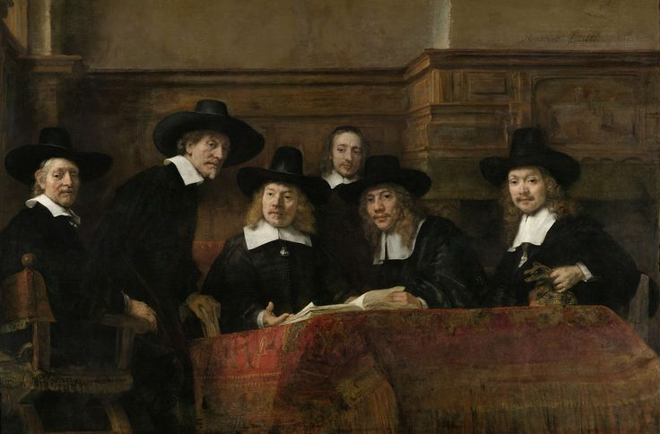 Samplers checked the quality of dyed cloth. Here Rembrandt shows them at work, distracted for a moment and looking up. One syndic is about to sit, or stand, so not all the heads are at the same level. A clever trick which, with the confident brushwork and subtle use of light, make this one of the liveliest group portraits of the 17th century. Originally painted for the sampling hall (Staalhof), in 1771 it was acquired by Amsterdam's town hall. Rembrandt Harmensz. van Rijn, 1662