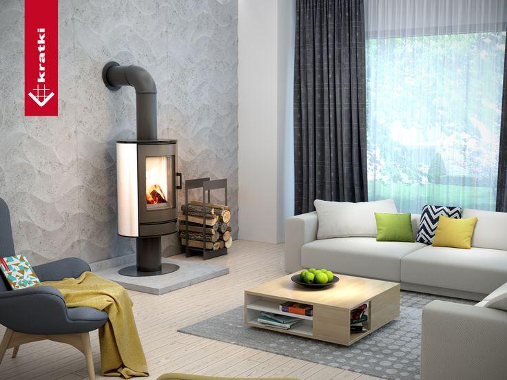 Stove KOZA AB with tils #kratkipl #kratki #stove #interior #livingroom