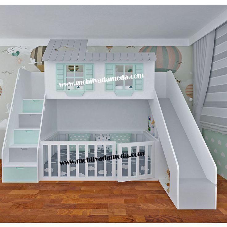 Dwelling Etagenbett mit Schiebedach Unedited Montessori Mattress # 6 # Roofless #Dwelling # Rutsche mit #Montessori Toys, Kids & Baby #Bed #Etagenbett…