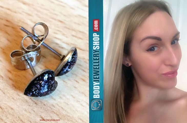 Body Jewellery Shop Heart Glitterline Stud Earrings