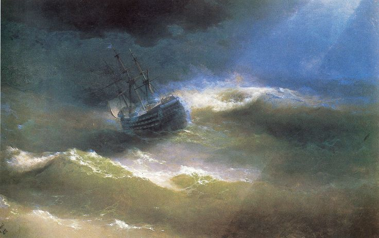 Ivan Konstantinovich Aivazovsky.  Title: The Mary Caught in a Storm, Date: 1892, Location: Feodosia, Aivazovsky Art Gallery - Buy this painting as premium quality canvas art print from Modarty Art Gallery. #art, #canvas, #design, #painting, #print, #poster, #decoration