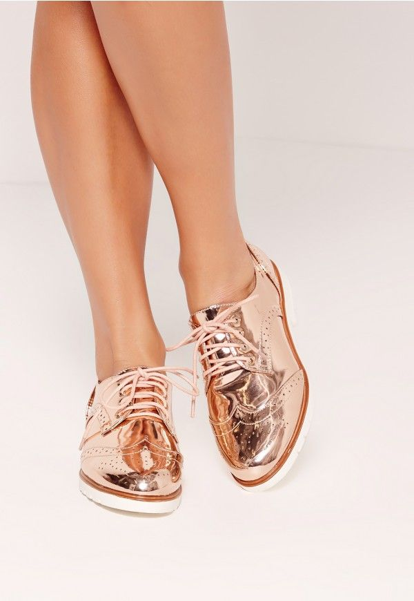 Metallic Brogues Rose Gold - Missguided