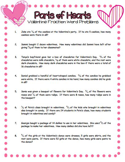 Blog post with free Valentine's Day  fraction word problems download and activity idea
