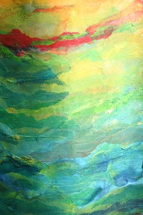 Kim Thittichai - Constructed from heavy pelmet Vilene that needs little support and has a heat bondable glue on one side. The heavy interfacing was colourwashed with Procion dye powder on both sides and hand dyed silk fibres were then applied to the 'sticky' side to create a basic 'landscape' effect.