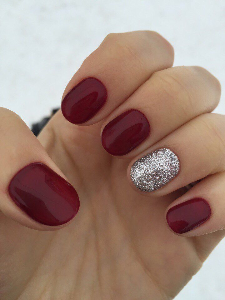 Accurate nails, Beautiful new year's nail, Birthday nails, Burgundy nails ideas, Dark short nails, Maroon nails, Maroon short nails, Natural nails