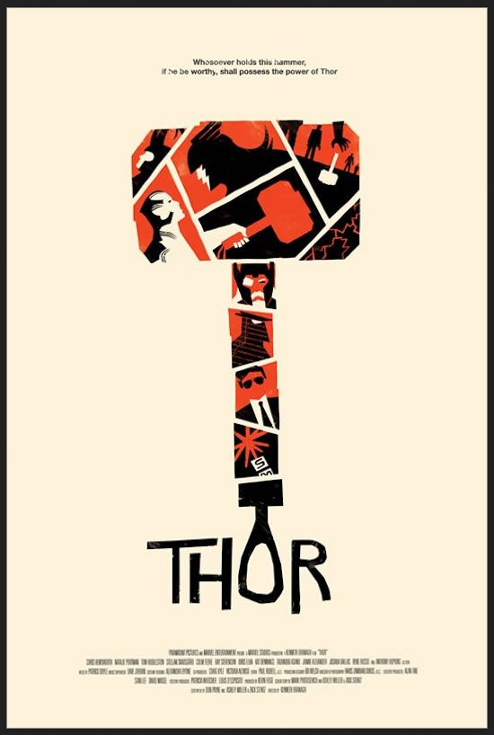 Fantastic Thor poster by the very talented Olly Moss. Has a Saul Bass quality to it, doesn't it?