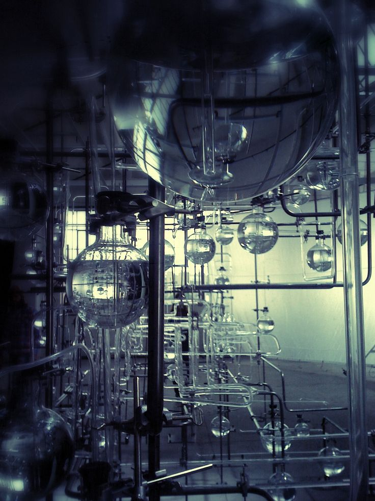 Laboratory System- Something similar with bubbling liquid could be projected onto screens within the space