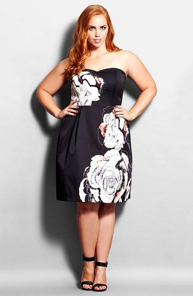 City Chic 'Trailing Flower' Strapless Cocktail Dress (Plus Size) available at #Nordstrom