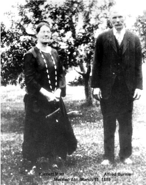 Alfred Burnnie and grandmother Harriet Burnie (Matt), b.1865 - d.1931, Georgina Twp. [photo taken in orchard of family farm]
