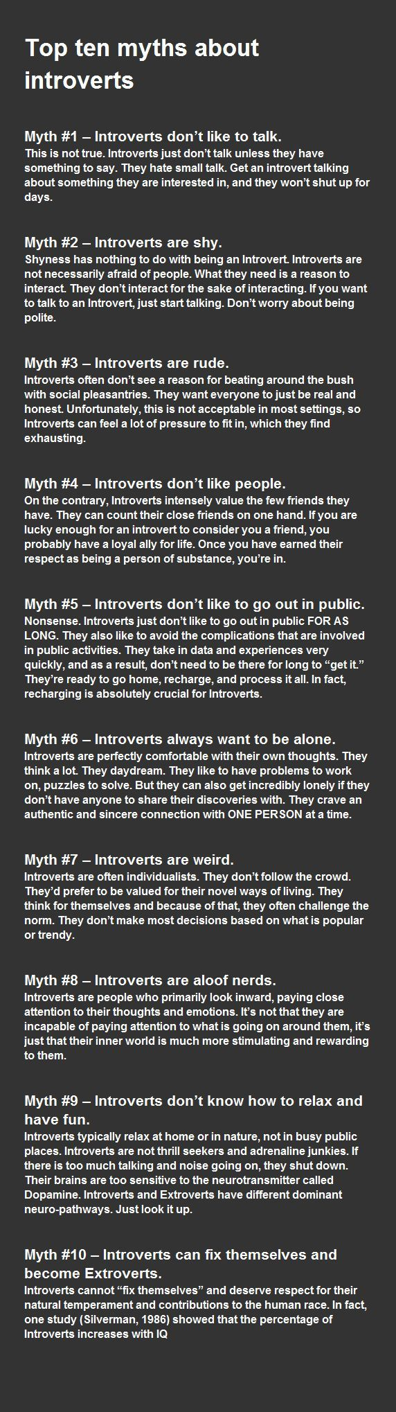 "All true, being introverted isn't bad. It's just how people view them that's bad. It can be annoying when people don't see them for who they are. They give up and say,""ahh they're too quiet so sooo ill just leave."""
