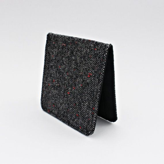 Thin Wallet, Grey Tweed Wool, Gray Slim Wallet, Red Accents, Slimfold Wallet,Mens Slim Wallet,Credit Card Wallet,Masculine Gift Idea