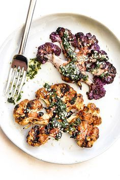 Grilled Cauliflower Steaks with Asian Gremolata for a veggie spin on grilling steaks | http://foodiecrush.com