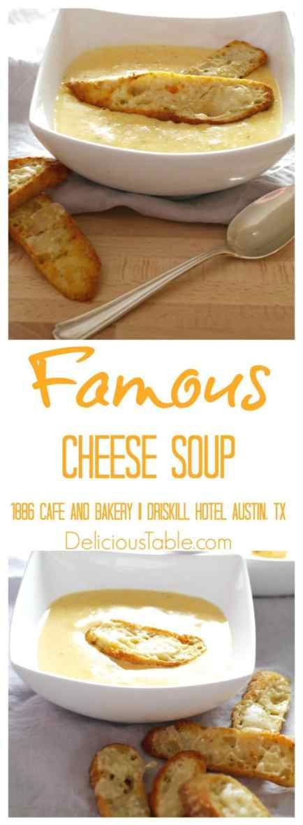 Easy, classic, Famous Cheese Soup has simple ingredients and extraordinary rich deep flavors spoon after spoon. Serve with crispy Parmesan Baguette Croutons!