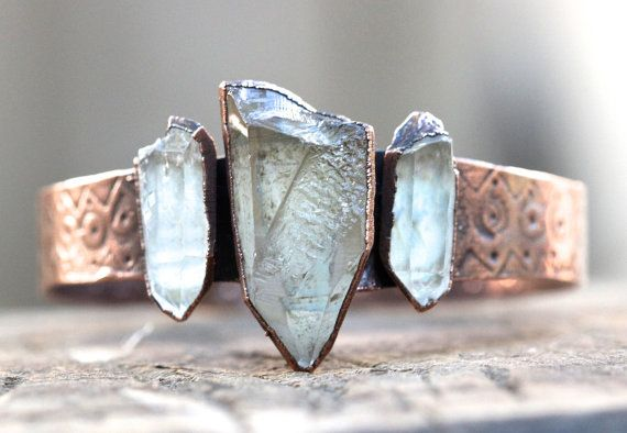 Raw Crystal Bracelet Raw Crystal Jewelry by DeerGirlDesigns, $105.00