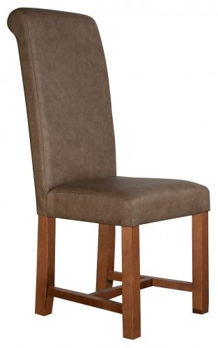 Stratford Roll brown leather dining chair
