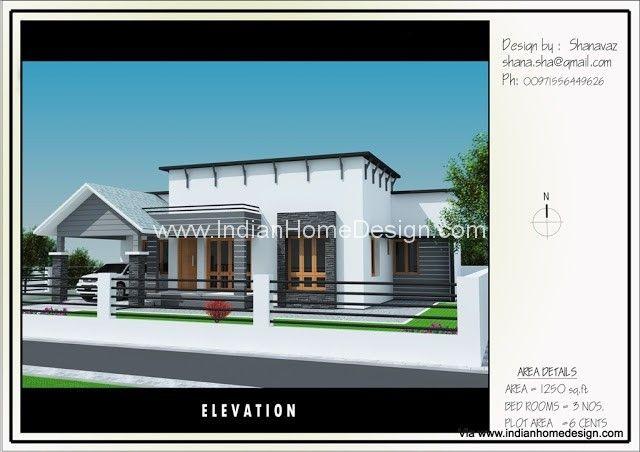 Single Floor House Plan Elevation Design For 1250 Sq Ft House Plans House Villa Design