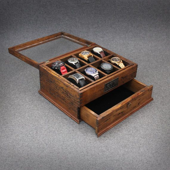 This sophisticated, rustic personalized watch box makes a thoughtful gift , a perfect addition to any dresser. We use reclaimed pine wood that is more than 100 years old, and has lived a laborious life as a country cottage, barn, mill, or furniture. Every piece of wood is unique and carries a beautifully distressed texture. To accentuate the individuality and character of the wood, we use a deep, sophisticated walnut stain. To perfectly complement the look a customizable monogram plate is…