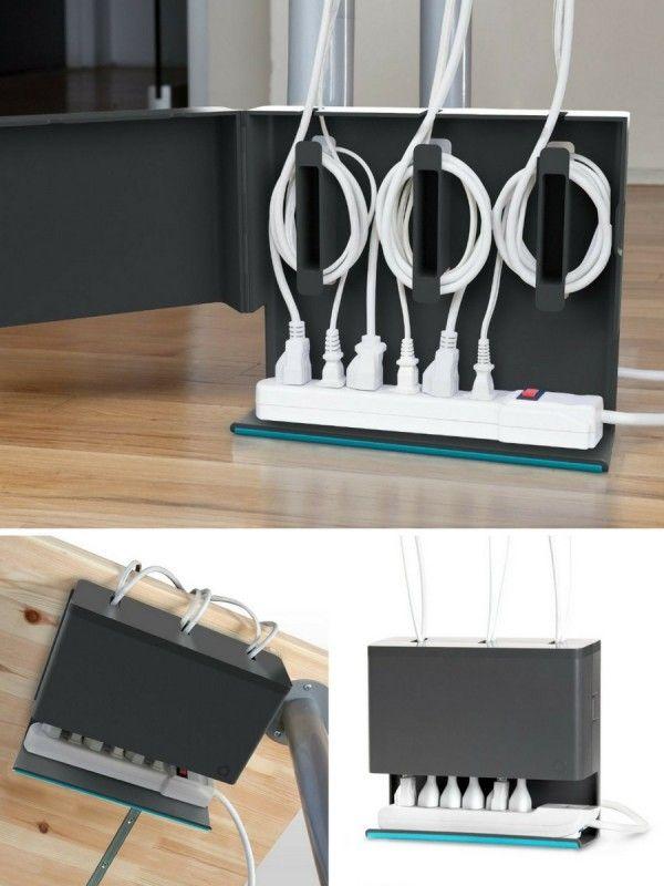 Boîtier range-câbles et multiprises Plug Hub  http://www.homelisty.com/cacher-ranger-cables-fils-prises-electriques/