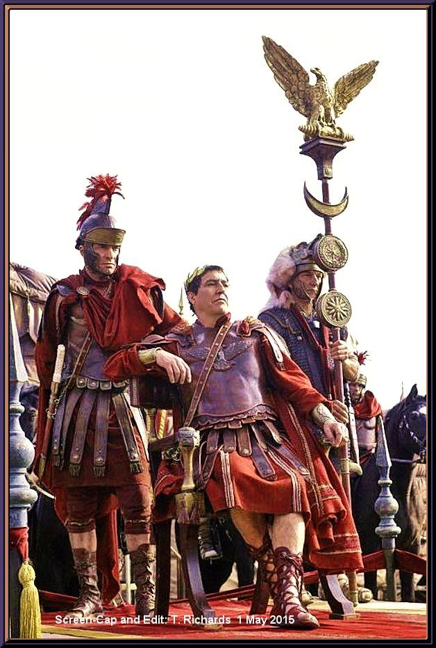 Mark Antony (James Purefoy) and Julius Caesar (Ciarán Hinds) ~ ROME, on HBO for 2005, 2006.