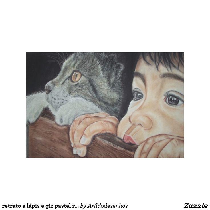 retrato a lápis e giz pastel realista impressão em tela