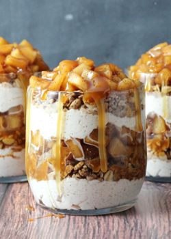 These Caramel Apple Trifles are the perfect apple treat - no bake, super easy and full of cinnamon!