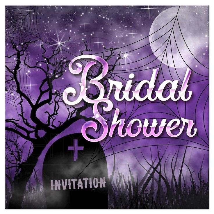 Purple, sparkly and cool - Halloween Bridal Shower Invitation