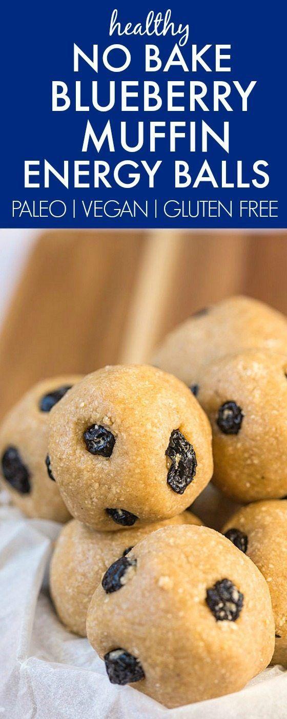 Sin saludable Hornear Blueberry Muffin de energía bolas hechas con ingredientes sanos y de fantasía NO Gadgets- fácil, deliciosa y el aperitivo perfecto!  {Vegetariana, sin gluten, recetas paleo} - thebigmansworld.com