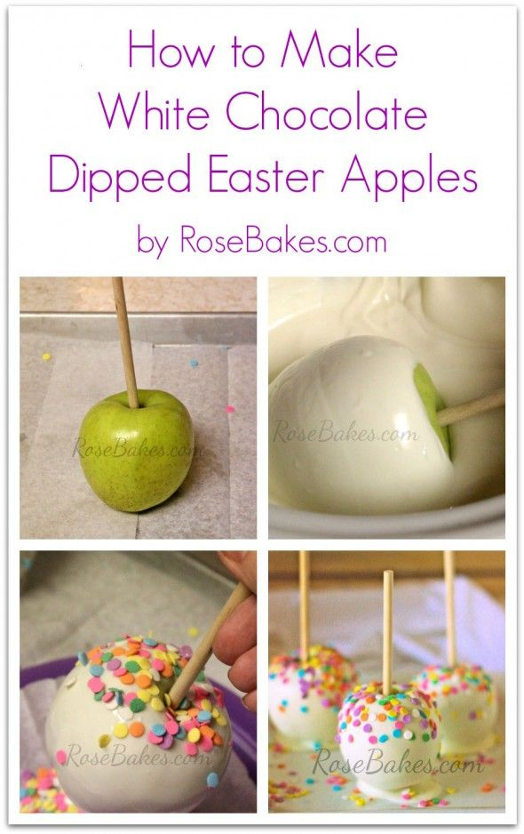 How to Make White Chocolate Dipped Easter Apples | http://rosebakes.com/make-white-chocolate-dipped-easter-apples/