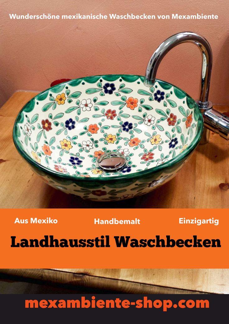 Handbemalte Waschbecken im Landhausstil von  Mexambiente #landhaus #landhausstil #countryhome #country #ländlich #floral #badezimmer #badideen #rustikal #mexambiente #gästewc #gästetoilette