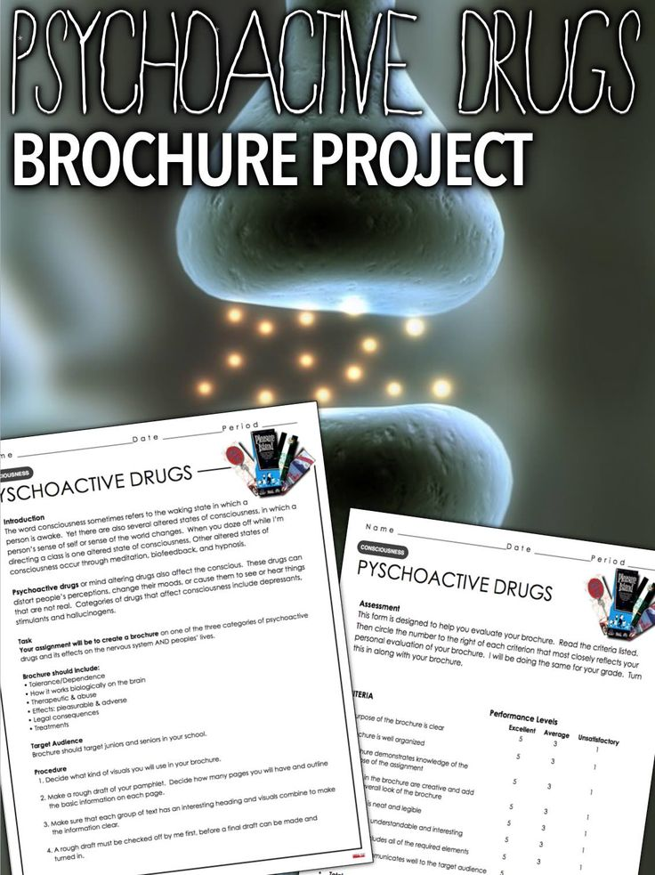Psychology: Consciousness - Psychoactive Drug Brochure Drugs that affect states of consciousness are called psychoactive drugs. This psychoactive drug brochure project gives students an opportunity to research psychoactive drugs and their effects on the brain. Included is a research guide and rubric for a brochure that will focus on one of the three psychoactive drugs, depressants, stimulants and hallucinogens. You assign the category, or students sign up(a sign up sheet is included).