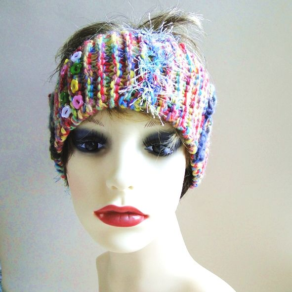 Lovely soft head band, hand knitted with a multitude of carnival colours. Great for the festival season!
