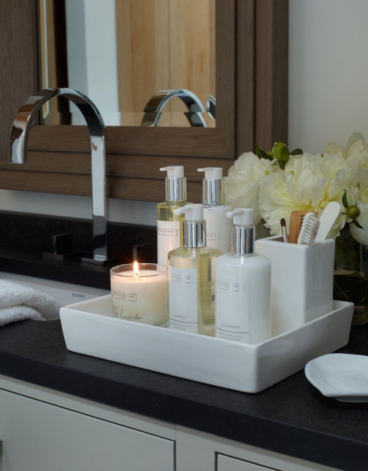 Bathroom worktop storage solutions with aesthetic charm
