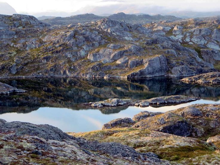 This small lake sits on glaciated granite south of Nuuk, Greenland.