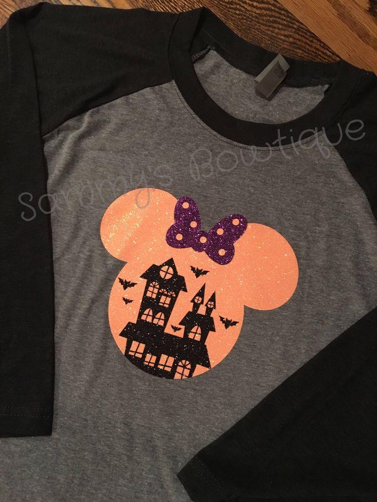 Minnie Mouse Halloween House 3/4 Sleeve Raglan T-shirt! Womens Disney shirt, Family Disney Shirts, Mickey's not so scary Halloween party. by sammybowtique on Etsy https://www.etsy.com/listing/545533187/minnie-mouse-halloween-house-34-sleeve