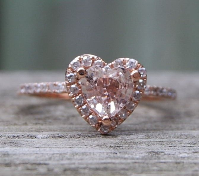Heart peach champagne rose gold diamond ring