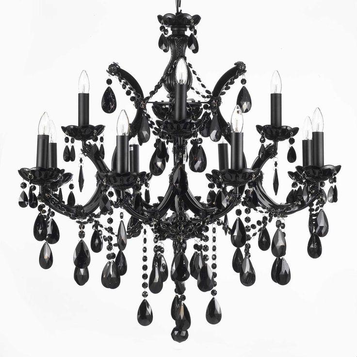 black chandelier lighting. maria theresa 12 light crystal chandelier black lighting