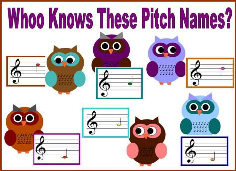 $ or FREE IDEA - Bulletin Boards for the Music Classroom: Whoo Knows These Pitch Names? - Practice reading treble clef pitch letter names - You can pay to download these bulletin boards as is, OR you can take the idea and make your own!