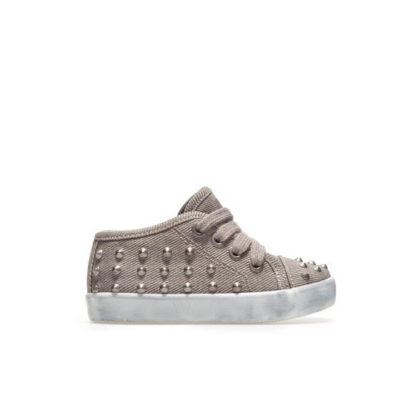 Studded plimsole shoes for baby boys #fashion. Dye them pink and my girl will rock them too!