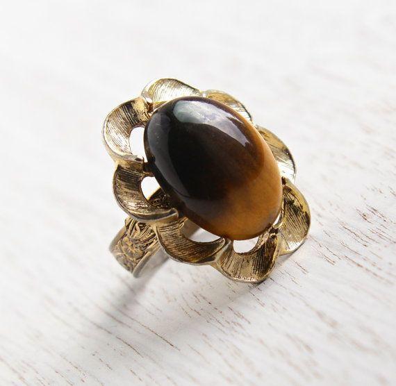 Womens Diamond And Tigers Eye Ring
