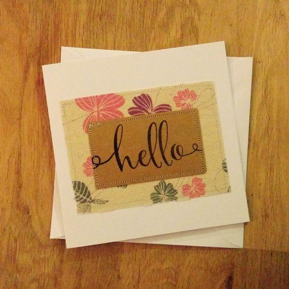 Handmade fabric and hand stamped hello shabby chic