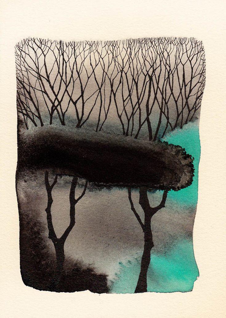 Pablo Herrero - LA SOGA AL CIELO: Tintas sobre papel de grabado. 18 x 13 cm.