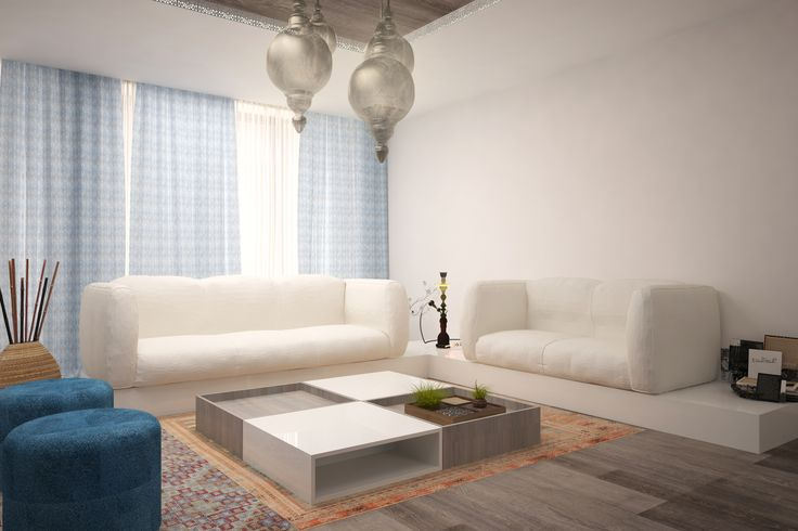 #white #ultramarineblue #beige #livingroom #lights #curtains #spots #sofa #chairs #coffeetable #shelves #wood #plants # #bigwindows #whitechairs #ceilinglamp #wood #kitchen