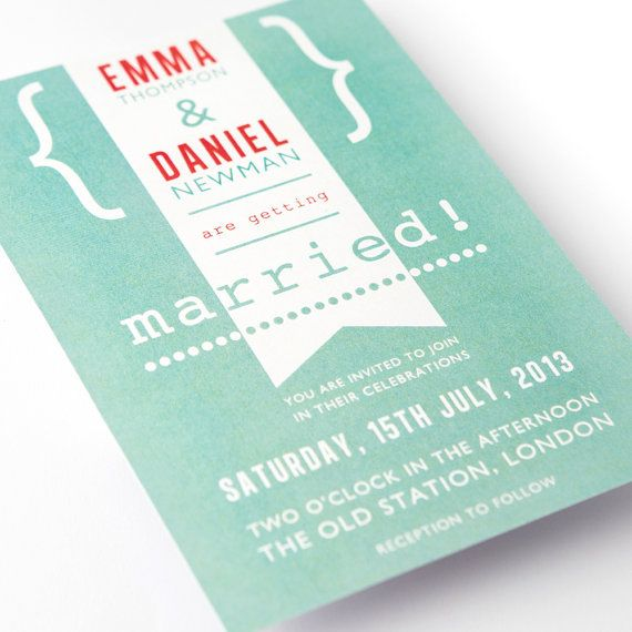 Modern Vintage Wedding Invitations  Married by IrisArtDesigns, £180.00