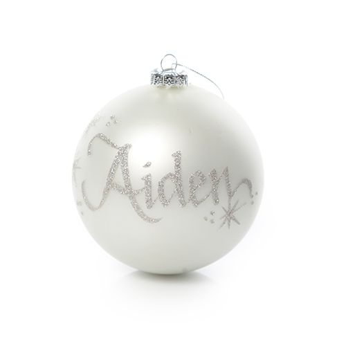 Pearl Glass Personalised Christmas Bauble