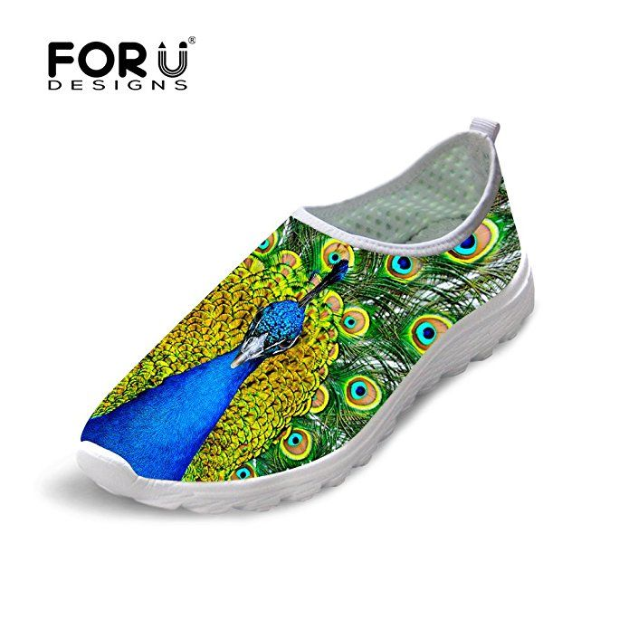 FOR U DESIGNS Stylish Peacock Print Women's Mesh Slip On Lazy Sneaker Water Running Shoes US 5