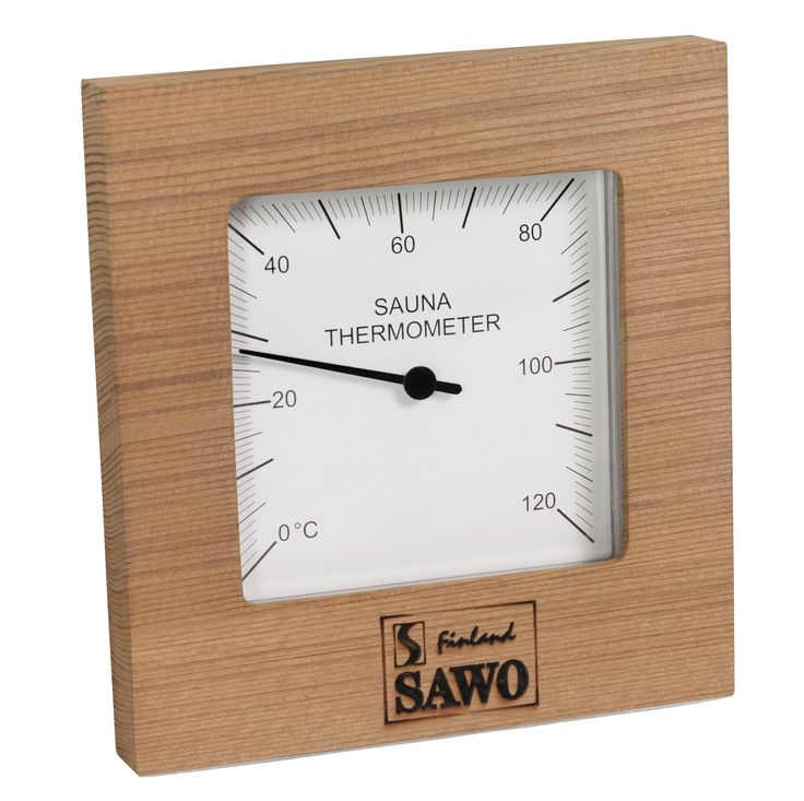 Thermometer made of cedar. This thermometer is simple but very beautiful and practical.