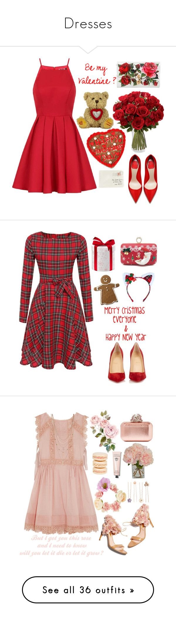 """""""Dresses"""" by hermiona355 ❤ liked on Polyvore featuring Chi Chi, Dolce&Gabbana, Moschino, Christian Louboutin, Leg Avenue, RED Valentino, Jimmy Choo, Mikimoto, The French Bee and Bobbi Brown Cosmetics"""