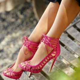 How about this shoe?  Share to get a coupon for all on FSJ Rose Red Stiletto Heels Peep Toe Lace up Strappy Sandals