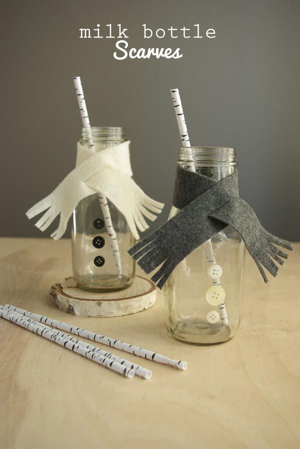 Finally a way to get your milk bottles ready for winter! Instead of leaving them plain, you can use some leftover craft materials to make these adorable new Christmas themed bottles. Make the everyday more fun with this quick recycling craft.