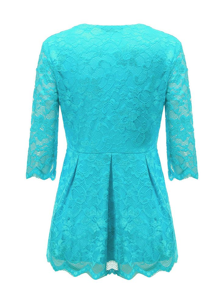 Sexy Women Lace Embossing V-Neck Pure Color Half Sleeve Blouse at Banggood